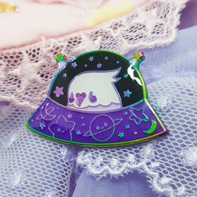 Commander Birb Rainbow Metal Enamel Pin | Kawaii Anodized Parakeet Budgie Soft Enamel Pin by Precious Bbyz