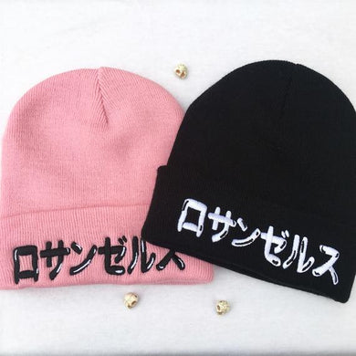 Los Angeles Japanese pink and black embroidered Streetfashion Beanies