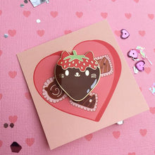 Load image into Gallery viewer, Galentines Valentine Kawaii Strawberry Chocolate Cat Enamel Pin