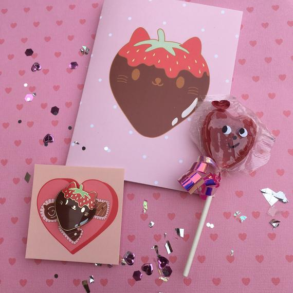 Galentines Valentine Kawaii Strawberry Chocolate Cat Enamel Pin