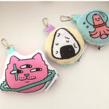 Load image into Gallery viewer, Minky Japanese Foods and Kawaii Print Plush Keychains