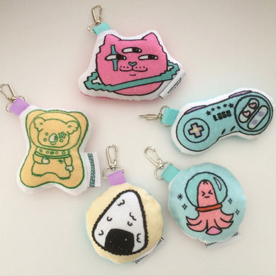 Minky Japanese Foods and Kawaii Print Plush Keychains
