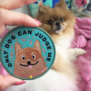 Only Dog Can Judge Me funny corgi iron on patch