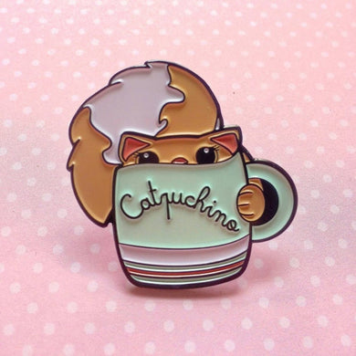 Cats are Liquids: Catpuchino Enamel Pin / Brooch