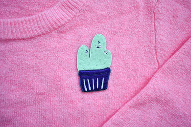 Cactus Family Iron On Patch Cute and Weird