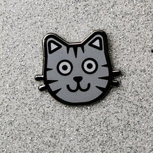 Load image into Gallery viewer, Grey Cat Enamel Pin – Kitten Enamel Pin