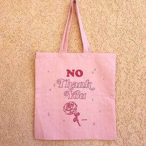 "Eco Friendly Pastel Pink Babe Reusable ""No Thank You"" Canvas Tote Bag"