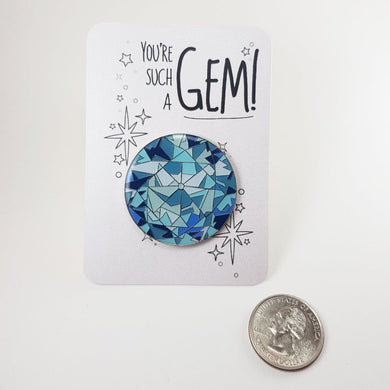 Aquamarine Enamel Pin / Brooch