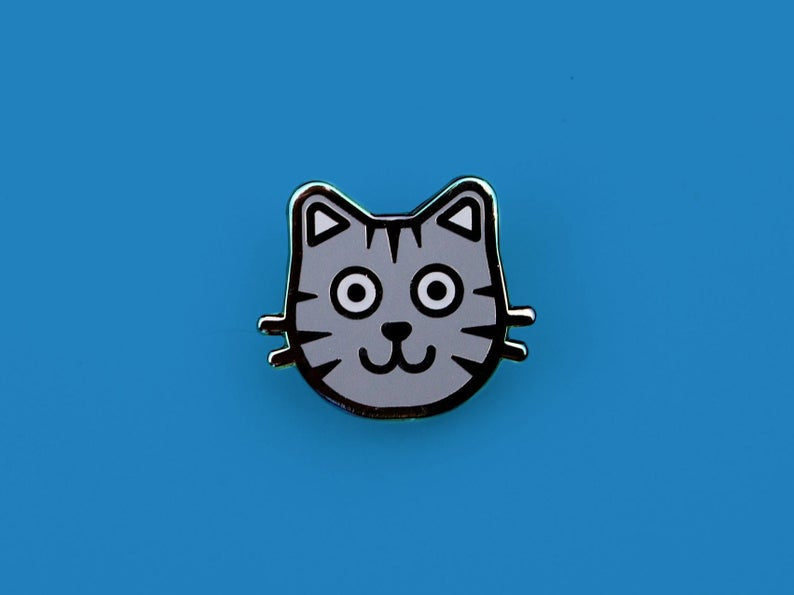 Grey Cat Enamel Pin – Kitten Enamel Pin