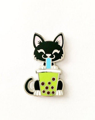 Tuxedo Cat with Green Tea