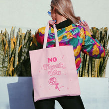 "Load image into Gallery viewer, Eco Friendly Pastel Pink Babe Reusable ""No Thank You"" Canvas Tote Bag"