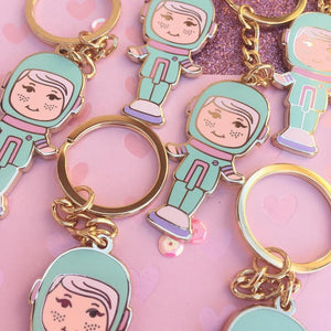 Pastel Polly Pocket Cadet Gold Enamel Keychains