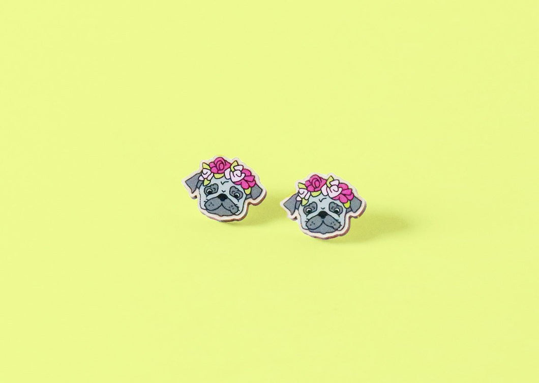 Dark Grey Pug Head Floral Wood Earrings - Studs