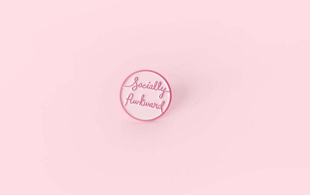 Socially Awkward Badge - Enamel Lapel Pin - Button