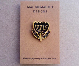 Flower enamel pin brooch, black and gold metal