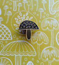 Load image into Gallery viewer, Toadstool and mushroom enamel pin brooch, black and gold metal