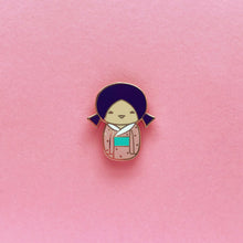 Load image into Gallery viewer, KAWAII KOKESHI DOLL LAPEL PIN• PURPLE PIGTAILS