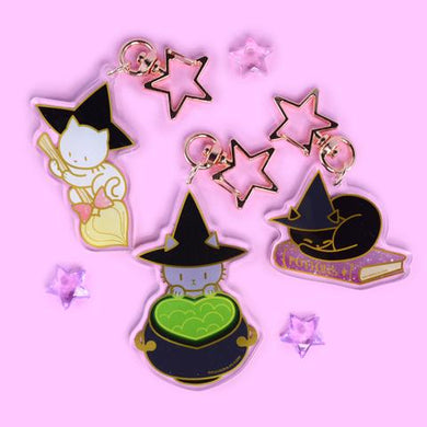 SASSY KITTIES WITCHY KITTY ACRYLIC KEYRINGS (3 DESIGNS)