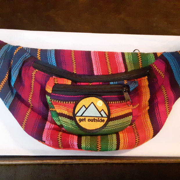 Multi-color Fanny Pack with Get Outside Iron-On Patch