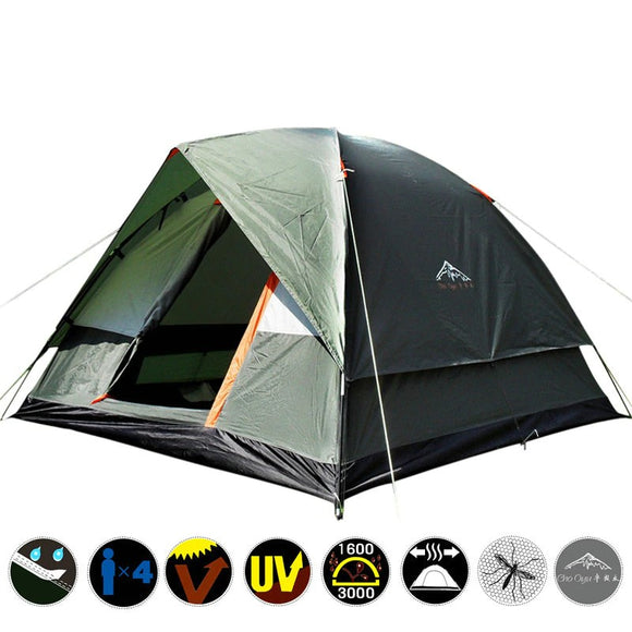 Three Person Double Layer Weather Resistant Tent Family