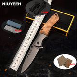 Pocket Folding Knife Black Steel+Wood Handle Tactical Survival EDC Knife Outdoor Hunting Knife Combat Camping Multi Tool