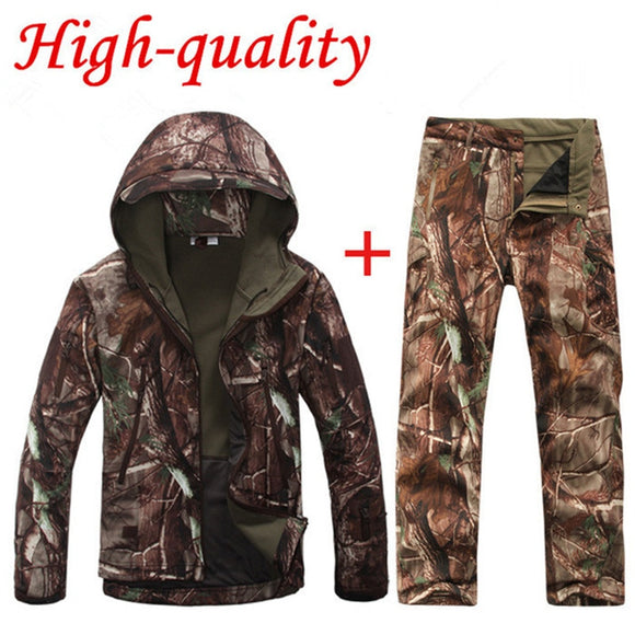 Hunting Waterproof Windproof Polyester Coats Jacket+Pants
