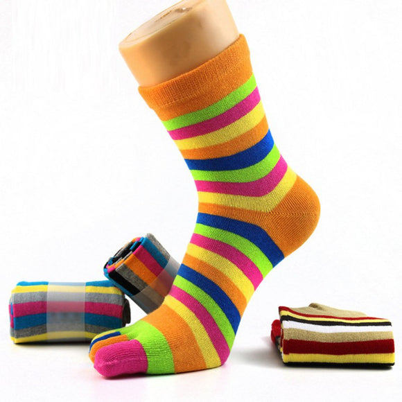 HGS Five Finger Socks Casual Striped Middle Tube Socks