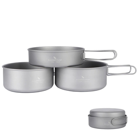 Boundless Voyage Ultralight Titanium Pot Pan Set Camping Hunt Gear Store