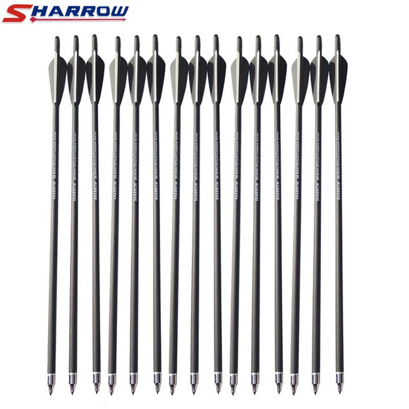"Sharrow 6 Pcs Crossbow arrows 20"" 22"" Crossbow Carbon Arrow Hunting Archery with 125 Grain Broadheads for Archery Shooting Hunt Gear Store"