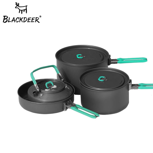 BLACKDEER Outdoor Set2 Pot 1 Frypan 1 Kettle Aluminum Folding Cooking Set Hunt Gear Store