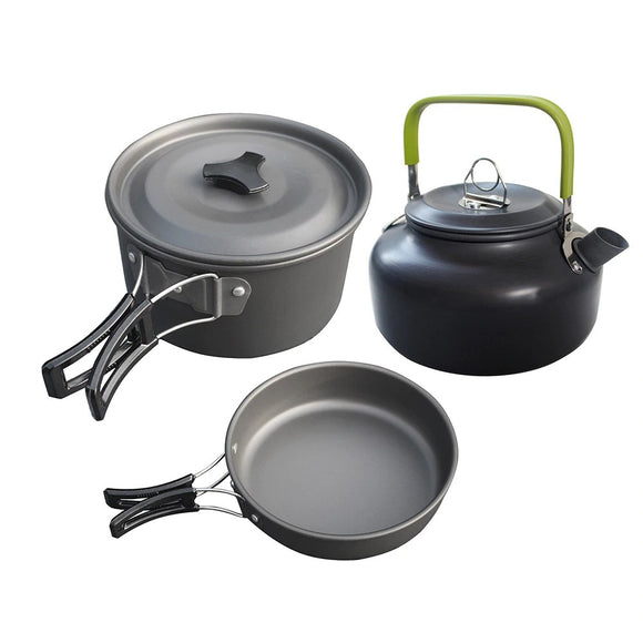 Camping Cookware Aluminum Alloy 3pcs Pans Set Hunt Gear Store