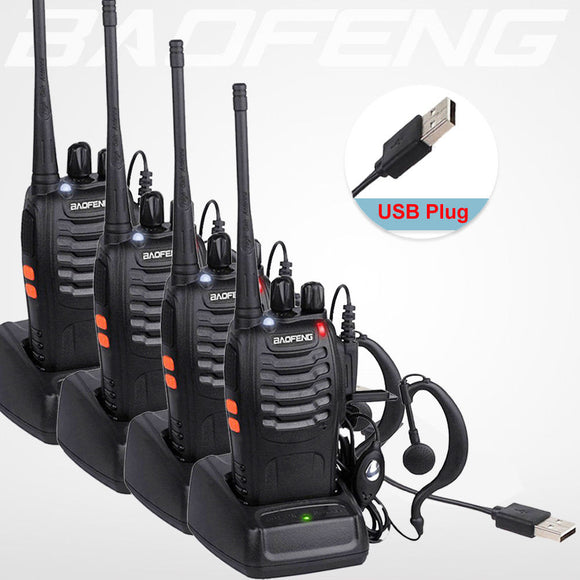 Four Walkie Talkie USB Charger Long Range Earphone