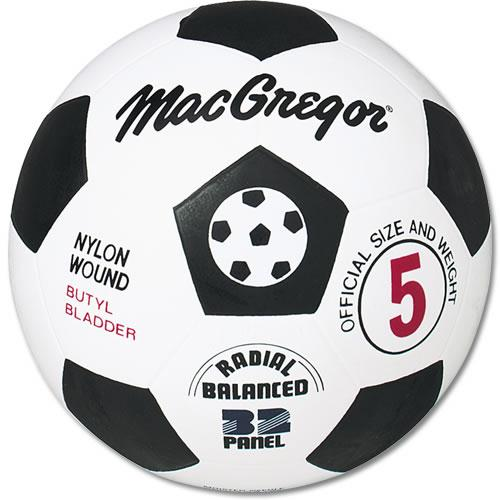MacGregor® Black White Rubber Soccer Ball Size 5