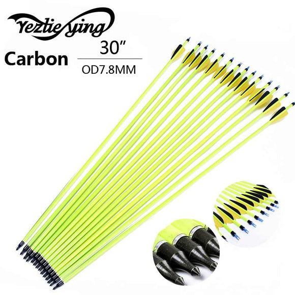 30 Inch 12 Pcs Yellow Carbon Arrow Feather Arrows Hunt Gear Store