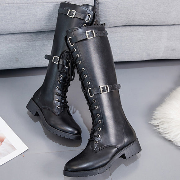 Bright Leather Motorcycle Boots Women's Tall Boots