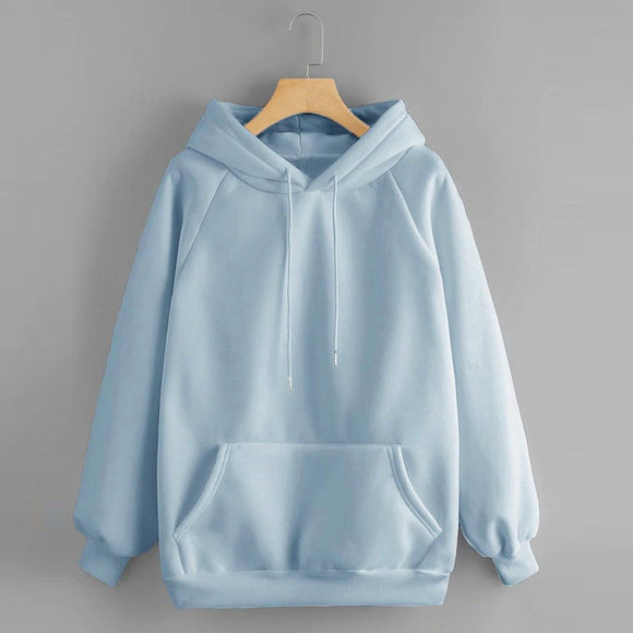 Solid Women's Sweatshirt Hooded Pocket