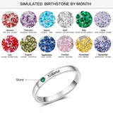Ring Sterling Silver Personalized Name Ring Birthstone