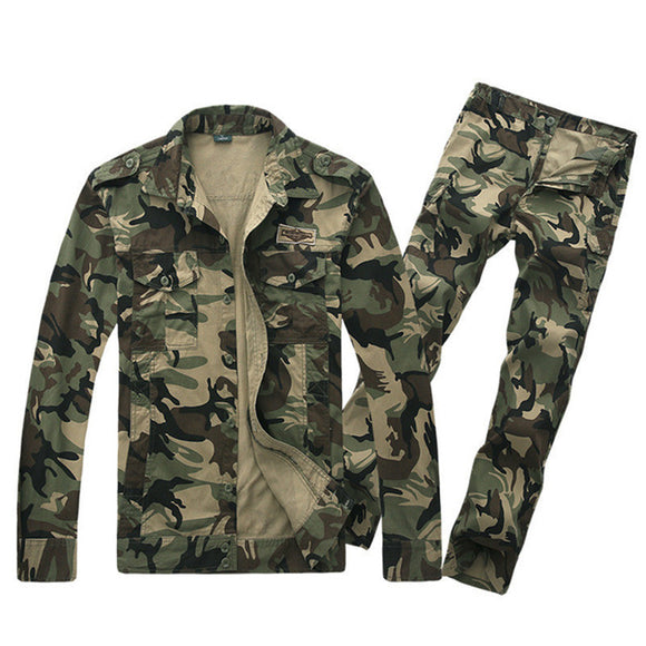 Jacket Button Up Pants Cotton Windproof Camouflage Sets