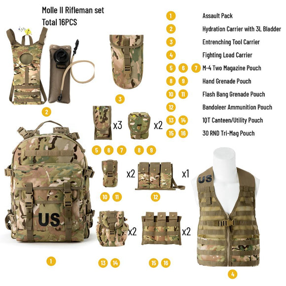 Survival Set Carrier Vest Multiple Pouches And Bags