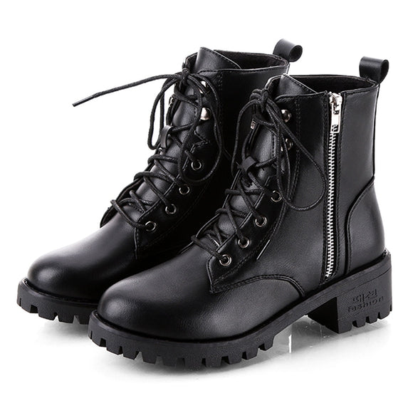 Ladies Leather Ankle Boots Side Zip Laces
