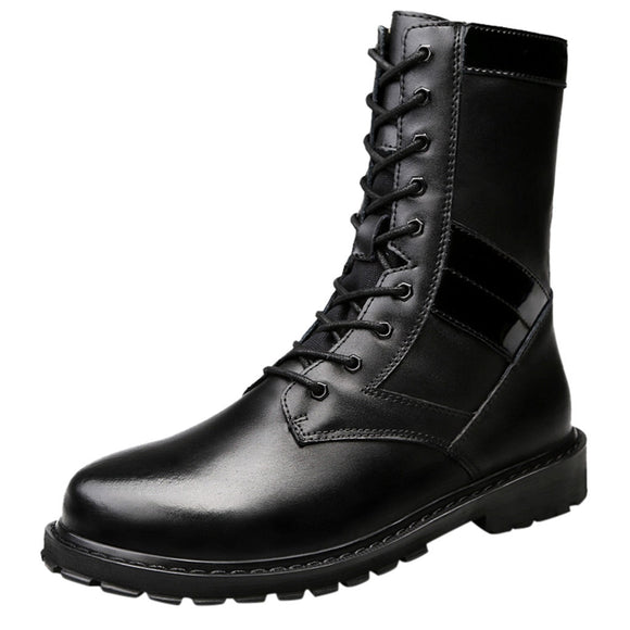 Boots Men Warm Leather Black Wear Resistant
