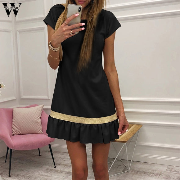 Women's Short Sleeve Casual Shirt Dress