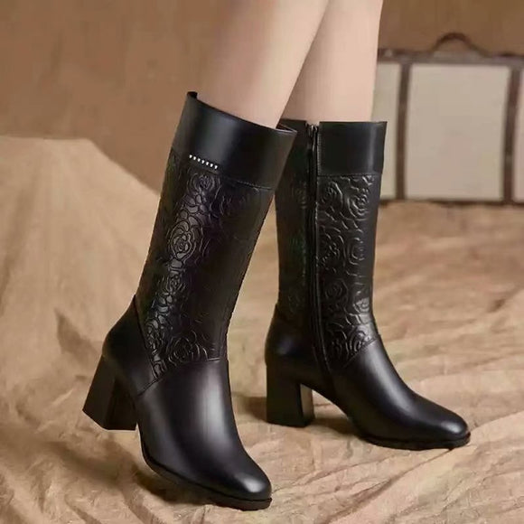 Women Leather Boots High Heel Warm Fur Pointed Toe