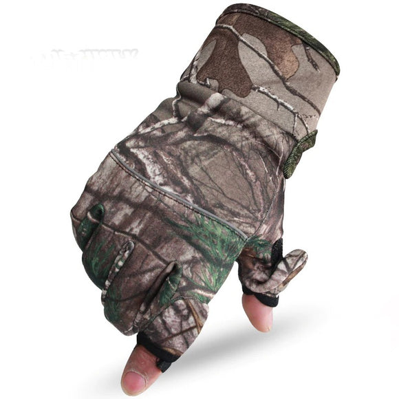 Hunting Gloves Anti-Slip 2 Half Finger Sport Camouflage