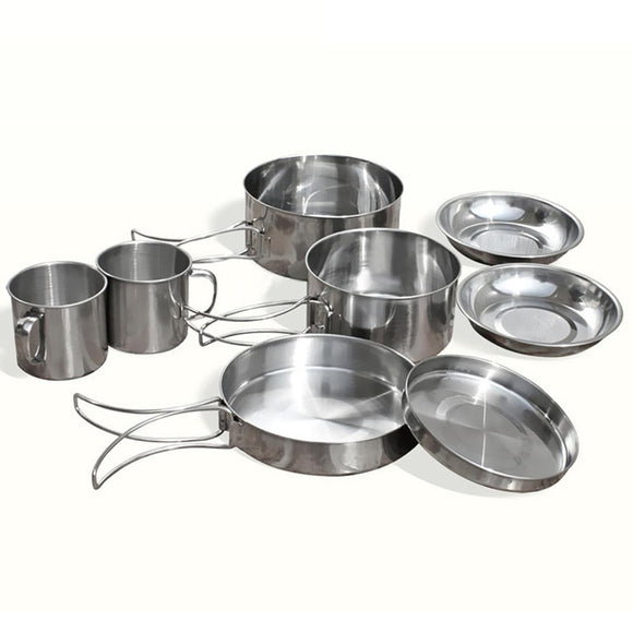 8Pcs/set Stainless Steel Outdoor Picnic Pot Pan Kit Hunt Gear Store