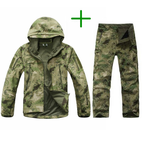 Men Hunting Camouflage Waterproof Hooded Jacket+Pants