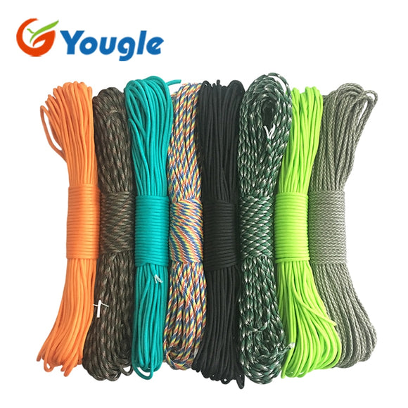 YOUGLE 550 Paracord Parachute Cord Lanyard Tent Rope Guyline Mil Spec Type III 7 Strand 50FT 100FT For Hiking Camping 215 Colors Hunt Gear Store
