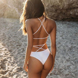 2019 One-piece Swimsuit Bikini Lace Up Backless Women's, Color - red
