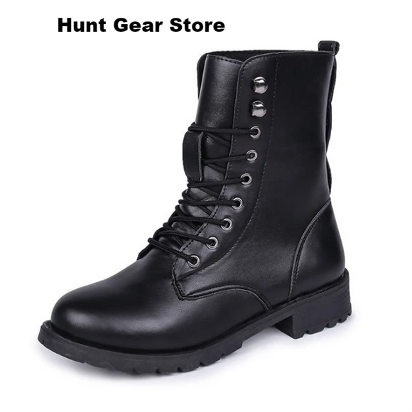 Motorcycle Boots Women Autumn Round Toe Lace up Black