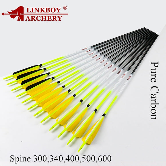 12pcs  Carbon Arrows 30 32inch  Turkey Feather Knock Hunt Gear Store